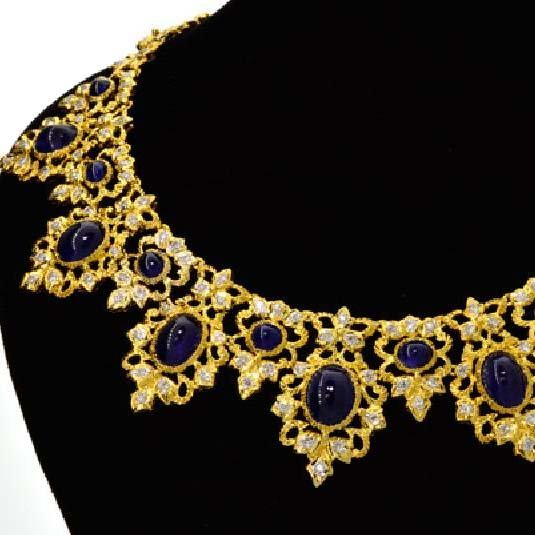 APP: 64k *18kt Gold, 36CT Sapphire & Diamond Necklace