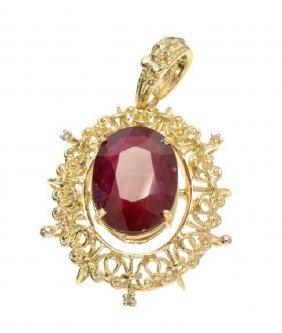 APP: 19k 14kt Gold, 17CT Oval Ruby & Diamond Pendant