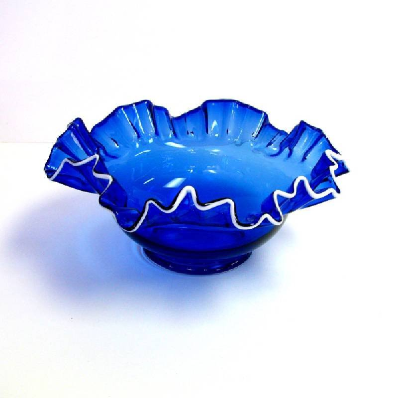 Crimped Top Cobalt Bowl