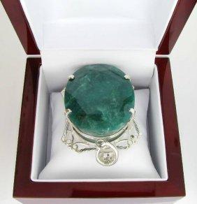 APP: 20k 334CT  Oval Cut Emerald & Sterl Silver Pendant