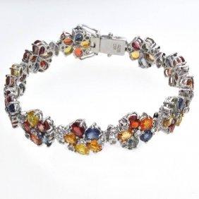 APP: 9k Semi-Precious Gemstone & Topaz Silver Bracelet