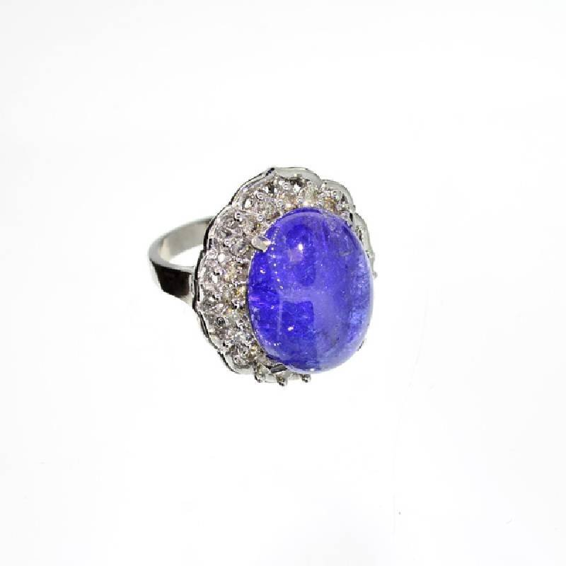 APP: 11k 14kt White Gold, 16CT Tanzanite & Diamond Ring