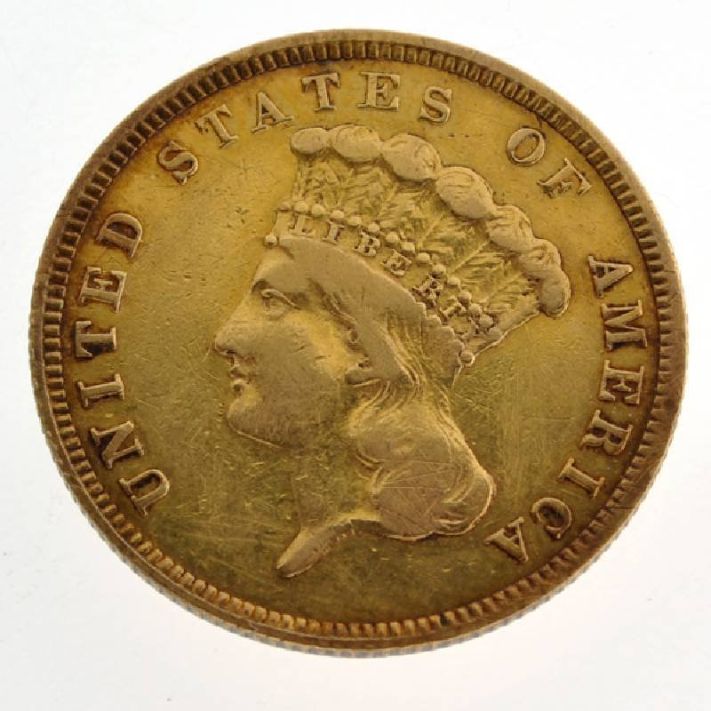 1859 $3 U.S. Indian Head Gold Coin - Investment
