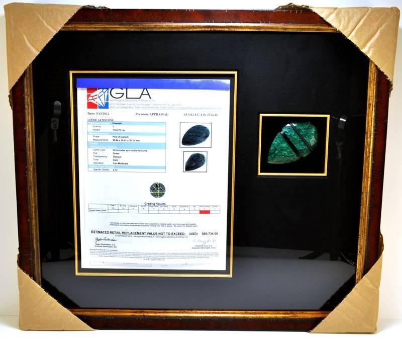 APP: 60k 1124CT Museum Framed Pear Cut Emerald Gemstone
