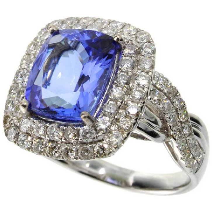 APP: 12k *14 kt White Gold 4CT Tanzanite & Diamond Ring