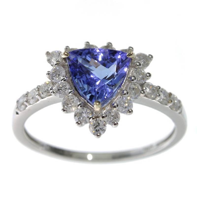 APP: 6k *14 kt White Gold 1 CT Tanzanite & Diamond Ring