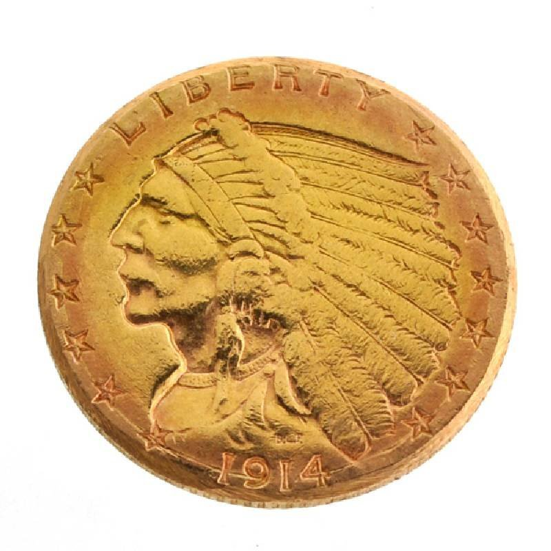 1914-D $2.5 U.S. Indian Head Gold Coin - Investment