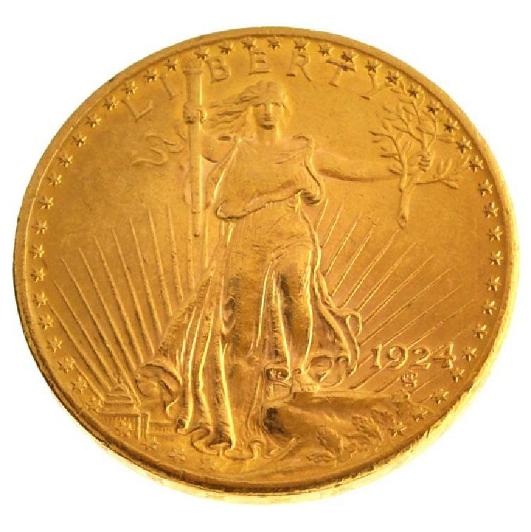 1924 $20 U.S Saint Gaudens Type Gold Coin - Investment