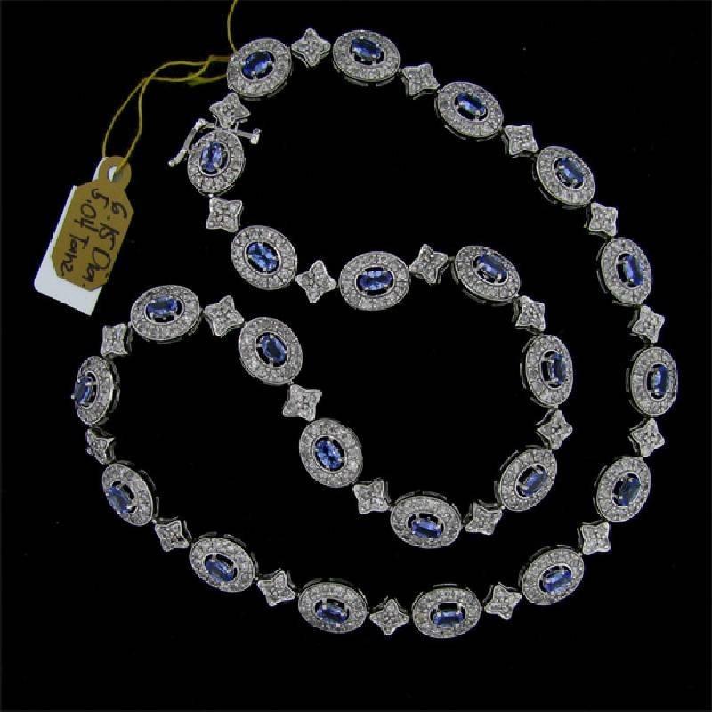 APP: 19k 14kt White Gold, Tanzanite & Diamond Necklace