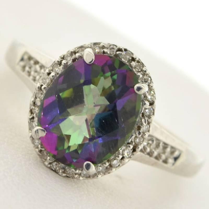 APP: 1k 3CT  Mystic Topaz & Diamond Sterl Silver Ring