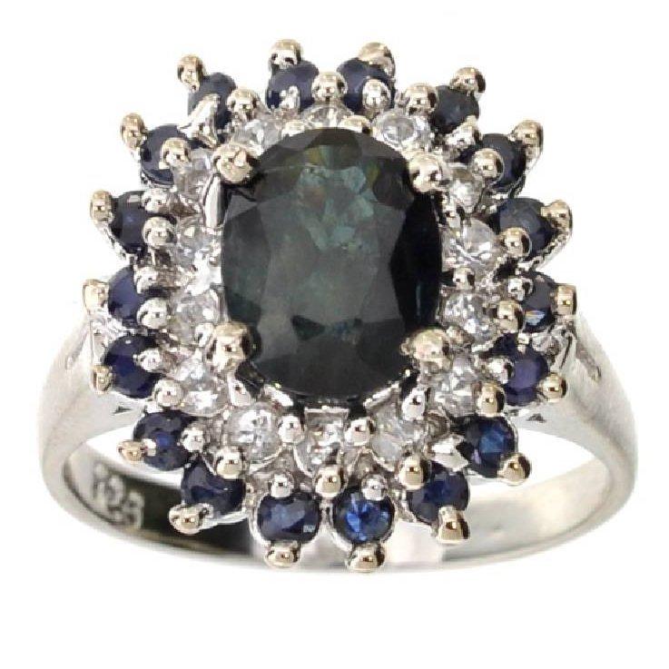 APP: 5k 2CT  Sapphire & Topaz Sterl Silver Ring