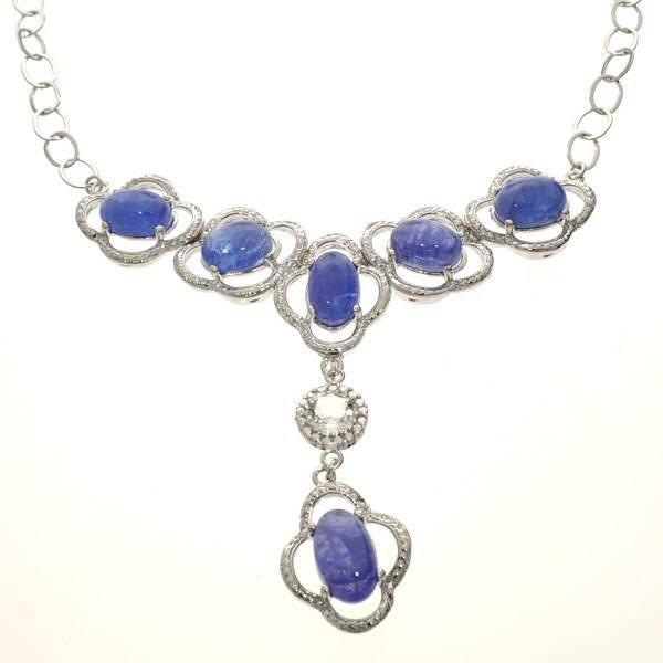APP: 12k 32CT  Tanzanite & Topaz Sterl Silver Necklace