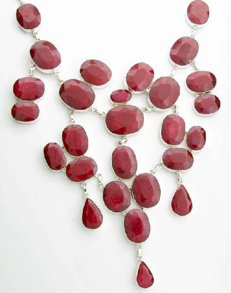 APP: 45k 661CT  Mixed Cut Ruby & Sterl Silver Necklace