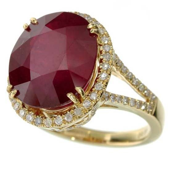 APP: 5k *14 kt Gold 10CT CutCT Ruby & Diamond Ring