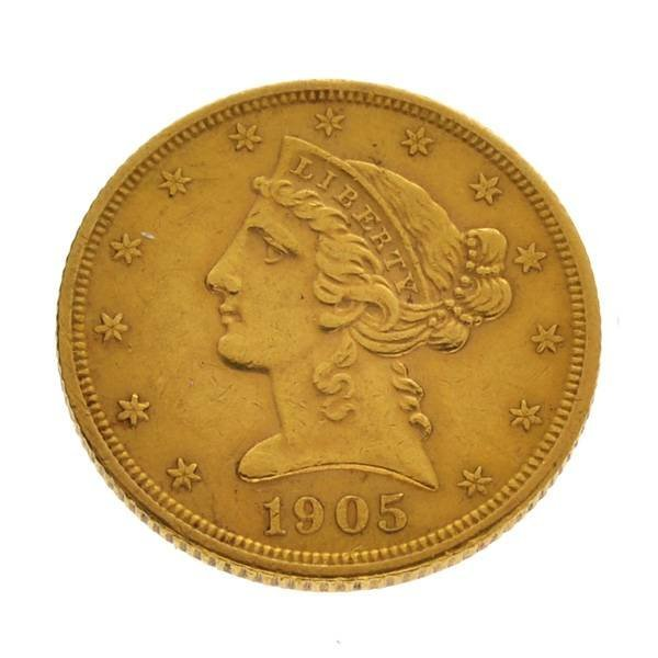 1905-S $5 Liberty Head Gold Coin - Investment