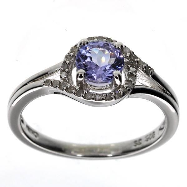 APP: 1k  Round Cut Tanzanite & Diamond Silver Ring