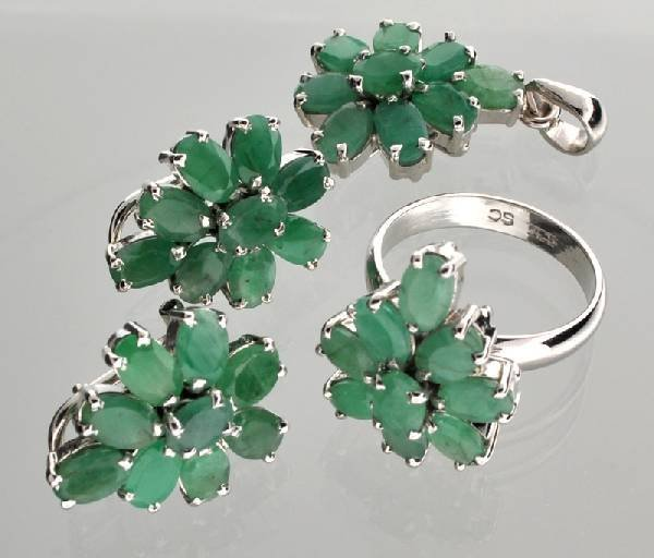 APP: 15k Emerald Silver Ring, Pendant, & Earrings Set