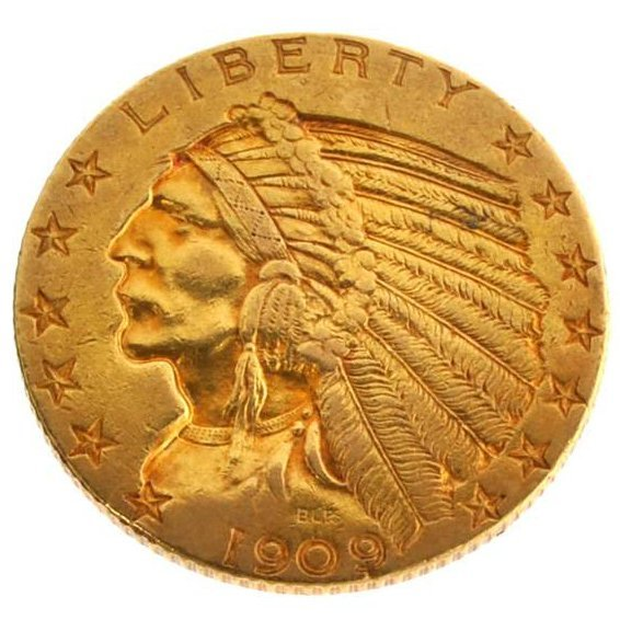 *1909-D $5 U.S Indian Head Type Gold Coin - Investment