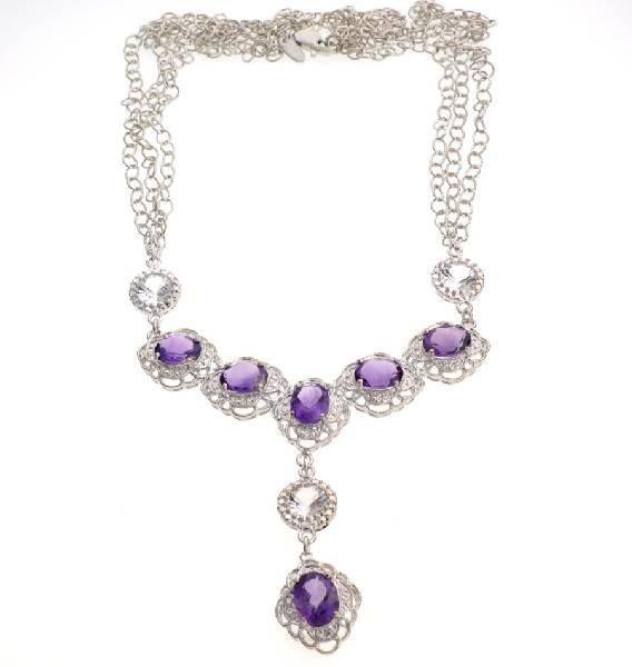 APP: 3k 14CT  Amethyst & Topaz Sterl Silver Necklace