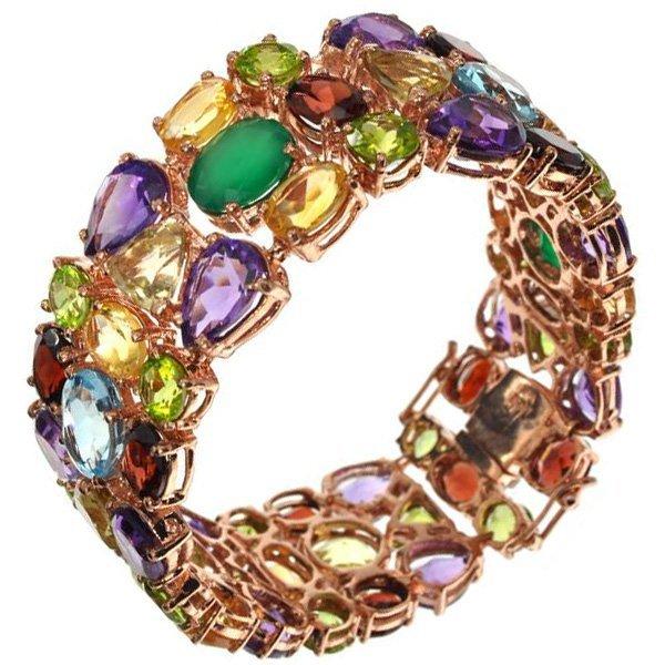 APP: 21k Semi-Precious Gemstone & Gold Silver Bracelet