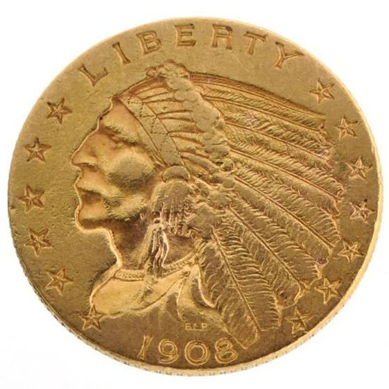 1908 $2.5 U.S. Indian Head Gold Coin - Investment