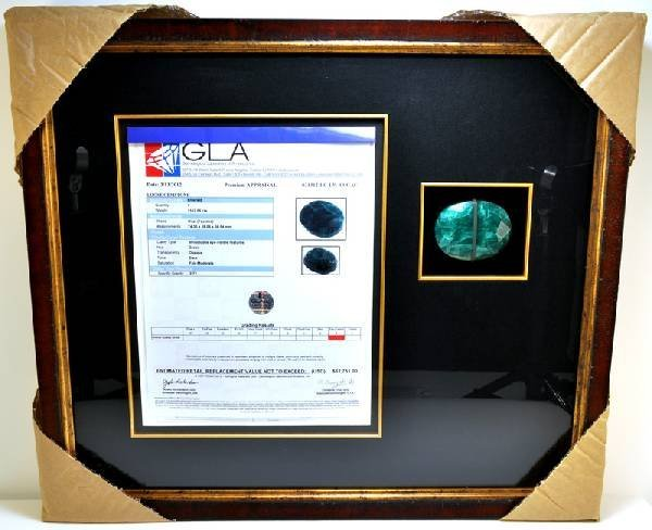 APP: 62k 1162CT Museum Framed Oval Cut Emerald Gemstone