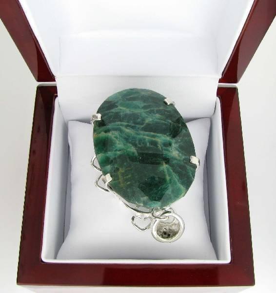 APP: 22k 352CT  Oval Cut Emerald & Sterl Silver Pendant