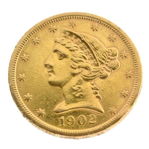 1902 $5 U.S. Liberty Head Gold Coin - Investment