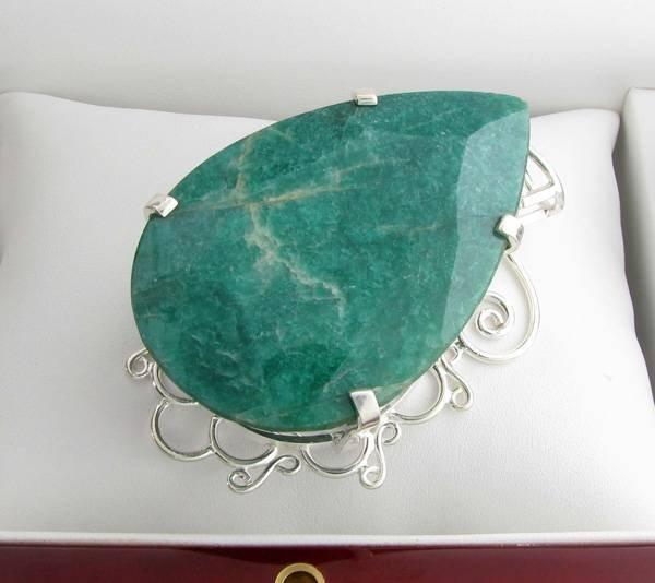 APP: 15k Sebastian 358CT Pear Emerald & Silver Pendant