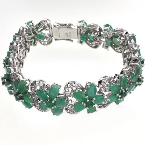 APP: 19k 22CT  Emerald & Topaz Sterl Silver Bracelet