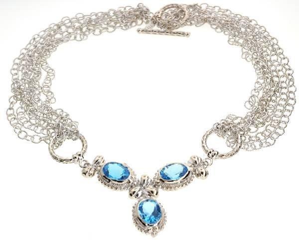 APP: 3k 14CT  Oval Cut Topaz Sterl Silver Necklace