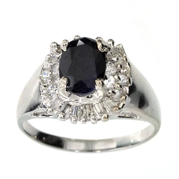APP: 4k 1CT  Sapphire & Topaz Sterl Silver Ring