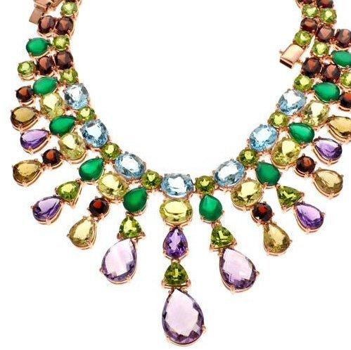 APP: 39k Amethyst & Precious Gemstone Silver Necklace