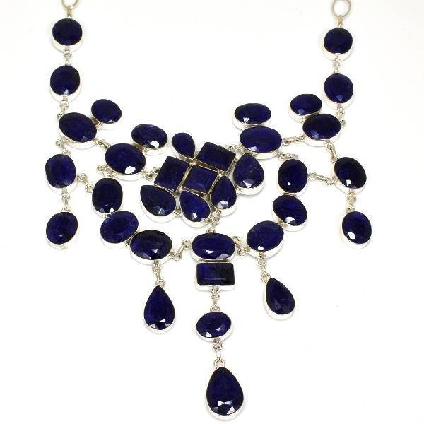 APP: 30k 472CT  Mixed Cut Sapphire & Silver Necklace