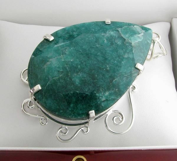 APP: 17k Sebastian 525CT Pear Emerald & Silver Pendant