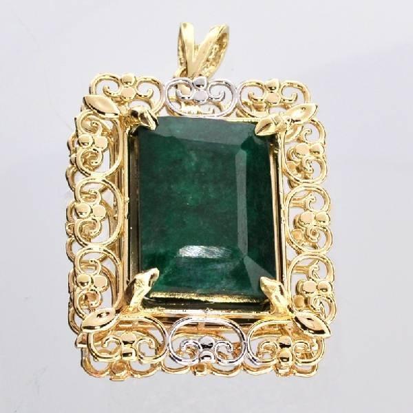 APP: 11k 14kt White & Yellow Gold 15CT Emerald Pendant