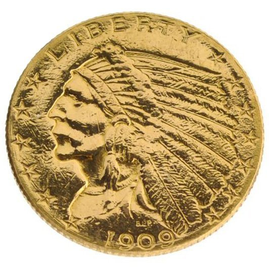 *1909 $2.5 U.S Indian Head Type Gold Coin - Investment
