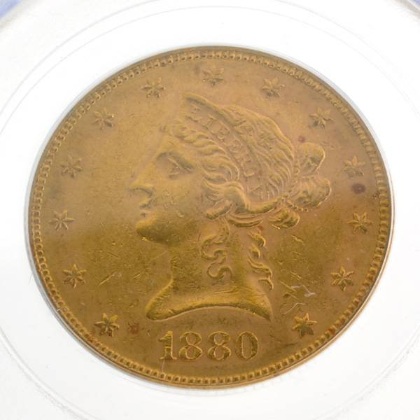 *1880 $10 U.S MS60 Liberty Head Type Gold Coin