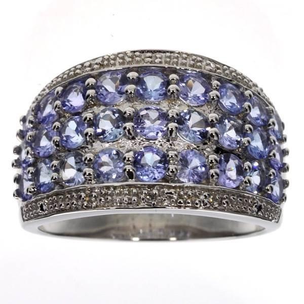 APP: 2k 2CT  Round Cut Tanzanite & Diamond Silver Ring