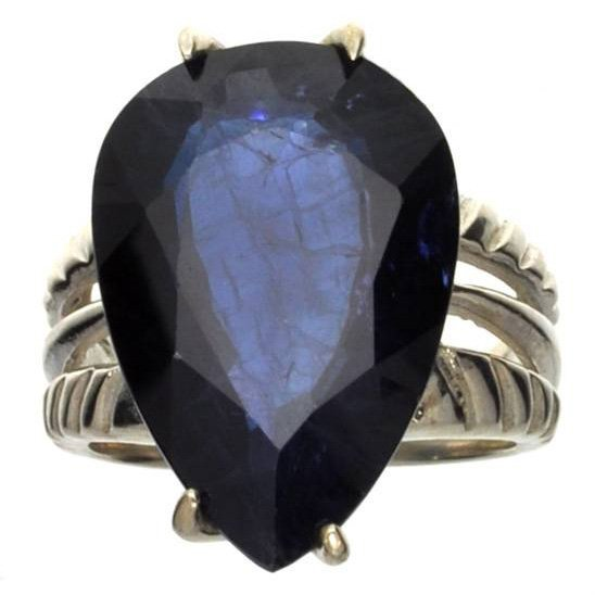 APP: 7k 16CT  Pear Cut Sapphire & Sterling Silver Ring