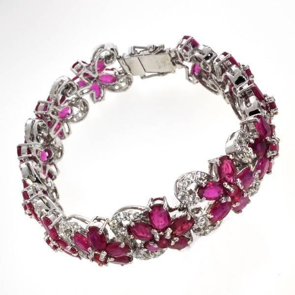 APP: 32k 41CT  Ruby & Topaz Sterl Silver Bracelet