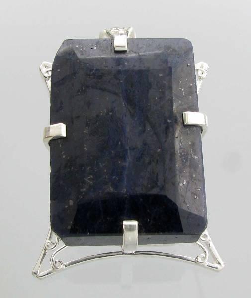 APP: 31k 481CT  Emerald Cut Sapphire & Silver Pendant