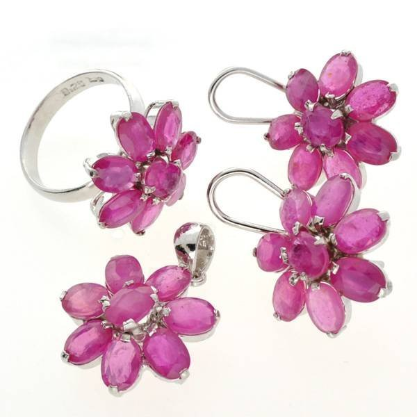 APP: 27k Ruby & Silver Ring, Pendant, & Earrings Set