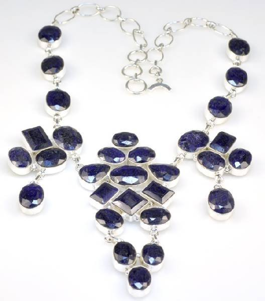 APP: 10k 217CT  Mixed Cut Sapphire & Silver Necklace