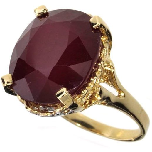 APP: 14.2k 14 kt Gold 17.92CT Oval Cut Ruby Ring