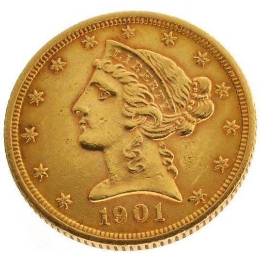 1901-S $5 U.S Liberty Head Type Gold Coin - Investment