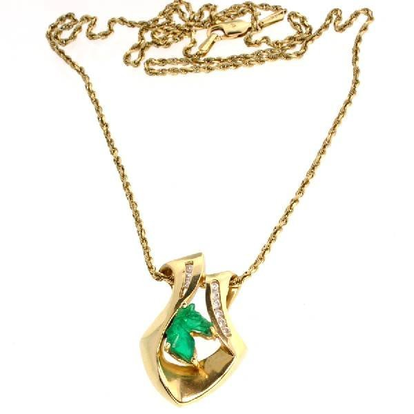 *14 kt. Gold, Horse Head and Diamond Necklace