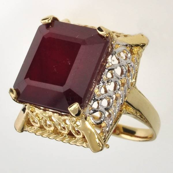 APP: 17.1k 14 kt Gold 18.25CT Emerald Cut Ruby Ring