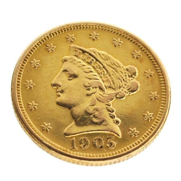 1905 $2.5 U.S Liberty Head Type Gold Coin - Investment