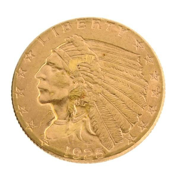 *1925-D $2.5 U.S Indian Head Type Gold Coin